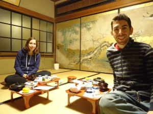 Dining on vegetarian Buddhist cuisine in our room at Ekoin, the temple where we stayed while visiting Koya-san
